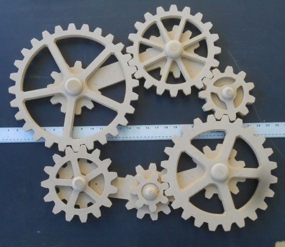 Wall Decor Gears : Working gears wood gear wall kinetic art steampunk