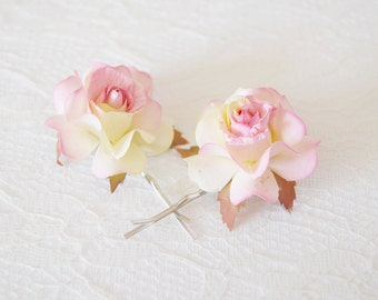 Pink Rose Hair Clips, wedding hair accessories, bridal hair clips, pink rose pins, flower hair clips, rose bobby pins - set of two