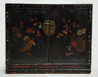 Antique Black Lacquer Cabinet with Floral Painting