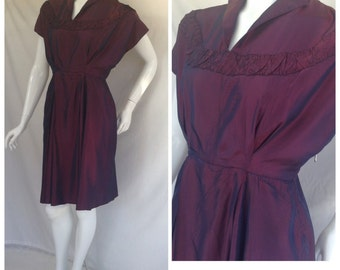 1940s Dress, Party,Dancing, WW2, Plum, Uk size 8-10, US size 6-8.