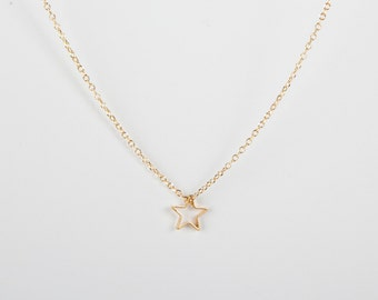 Fine Golden Necklace Gold Star Starlet Goldstar Tiny Star Necklace