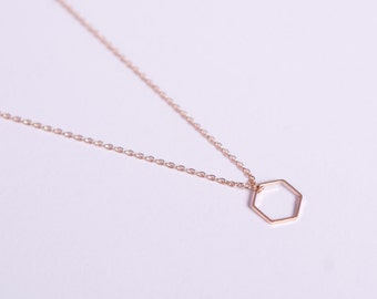 Rose Gold Plated Necklace Disc Rosegold Hexagon Coin Rosegolden Necklace Honeycomb