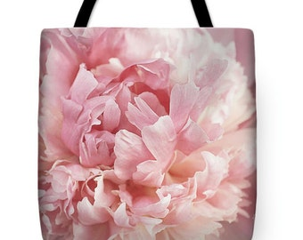 Peony Tote Bag, Pink Peony Flower Tote, Double Sided TOTE BAG-Shopping Bag, Market Bag, Unique Tote Bag, Gift for Her,  Floral Canvas Tote