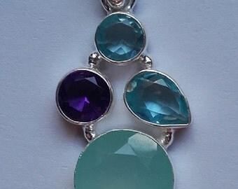 hand made semi precious aqua chalcedony sterling silver pendant necklace