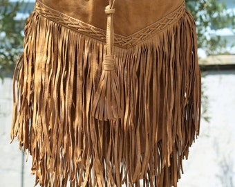 Camel  leather bag with leather stripes