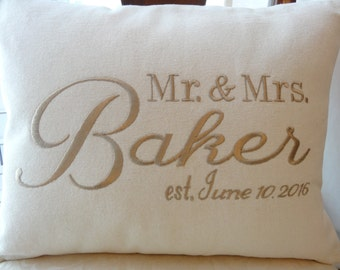 engagement/wedding/anniversary personalized/monogrammed Mr. and Mrs. pillow