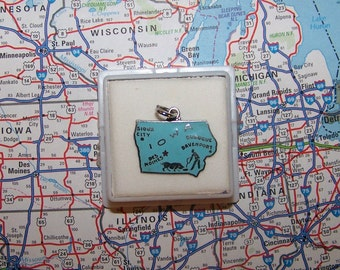 Vintage  IOWA Sterling  and Enamel State Charm -- Sioux City, Davenport, Dubuque and Des Moines