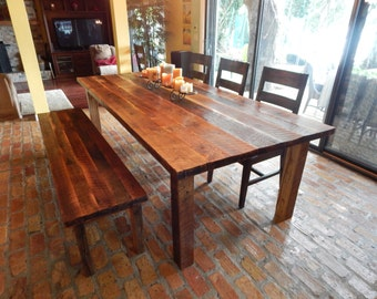 Reclaimed Wood Farmhouse Dining Table With Matching Bench