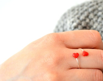 Valentine's Day minimal sterling silver ring. Polymer clay hearts.