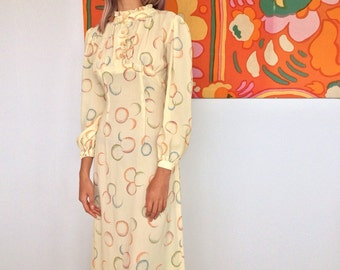 1960's Handmade Bubble Print Gown