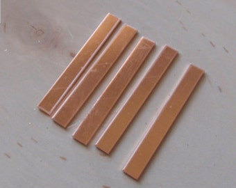 Copper rectangle blanks 18 gauge 1/4 inch wide by inch long, copper tags - QTY 15