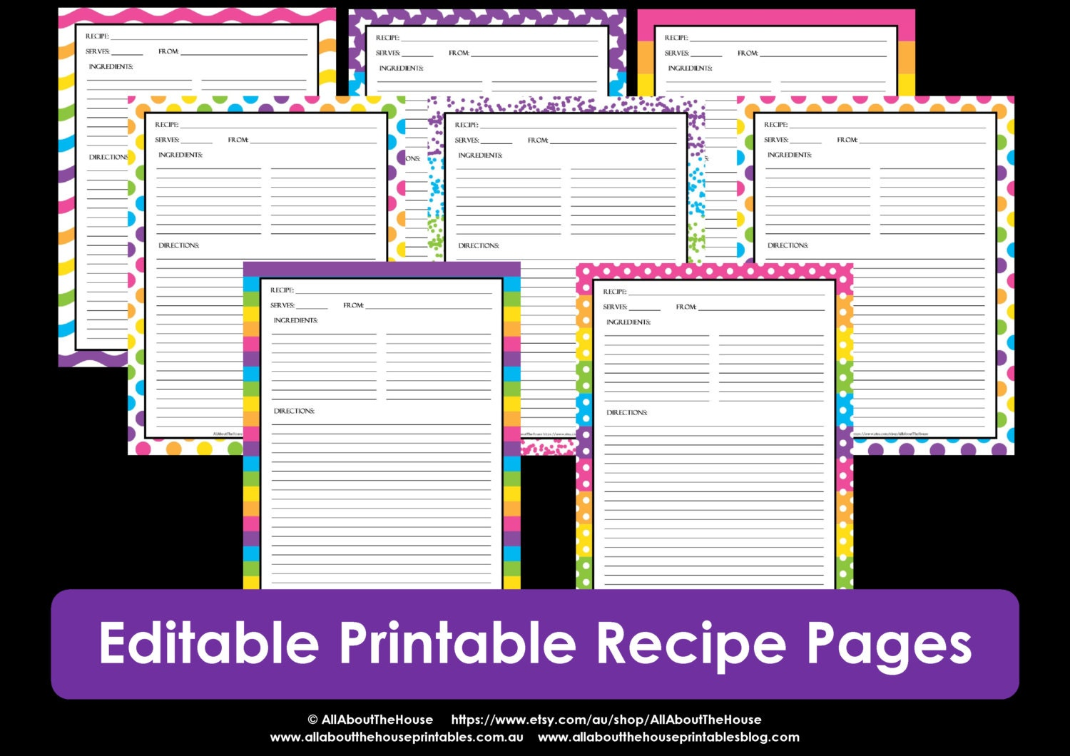 Editable printable recipe card template pdf sheet recipe for Editable recipe card