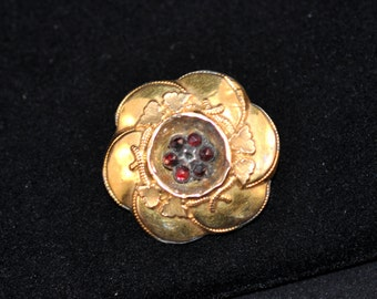 Victorian Brooch, Gold, Antique Pin, brooch, Nice size, Vintage, jewelry, gold pin, garnet colored stones  #268