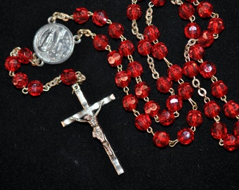 Red Rosary Religious necklace, Vintage jewelry pendants charms, Jesus, detash, religious medals, #524