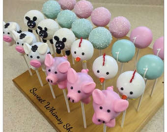 24 Farm Animals with Pink & Mint Green Sugar Crystal Cake Pops - Cow, Pig, Chicken, Sheep, baby shower, preppy, pastel, 1st birthday, girl