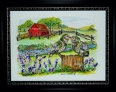 "Burrowing Owls kiss ""Hello you"" - Red Barn - Lavender 12x16 ORIGINAL painting - Signed"