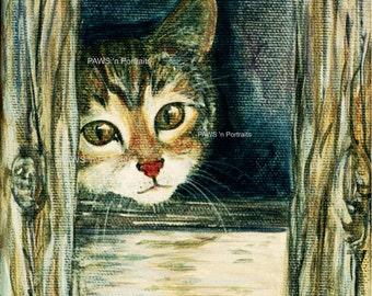 BARN Kitti portrait - Original - Hand painted - Signed - FREE Shipping