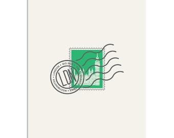 Big Ben, London Stamp - 8x10 Art Print