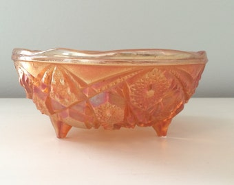 Orange Carnival Pressed Glass Footed Bowl