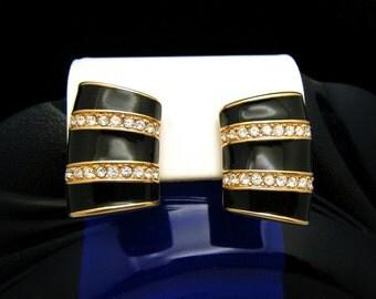 Vintage Swarovski Crystal Black Enamel Gold Tone Clip Earrings SAL Mark