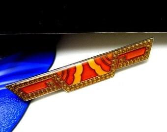 Art Deco Revival Bar Pin French Enamel Orange Yellow