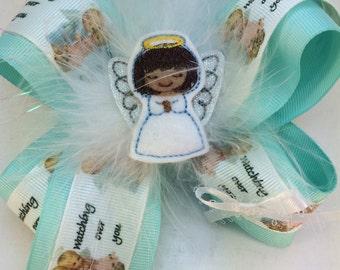 Angel hairbow-angel felty-angel hair bow-baby angel-childs angel-angel ribbon-angel clippie-angel headband