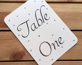 10 Shabby Chic Polka Table Numbers, A6 Rustic Ivory