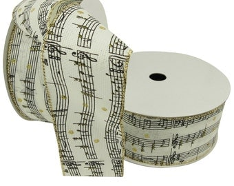 """Music Note Printed Wired Ribbon, 2.5"""""""
