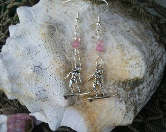 Surfer girl earrings, surfer charm earrings, surfer chick with pink beads, free shipping