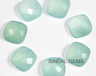 10 Pieces Lot Aqua Chalcedony Cushion Shape Checker Cut Loose Gemstone