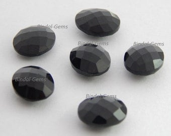 15 Pieces Lot Top Quality Black Onyx 7x9 MM Oval Shape Checker Briolettes Cut Gemstone For Jewelry