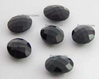 10 Pieces Top Quality Black Onyx Oval Shape Checker Briolettes Cut Gemstone For Jewelry