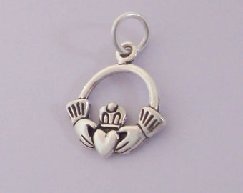 1 Sterling Silver Claddagh Charm, Heart in Hands Everlasting Friendship, Made in USA