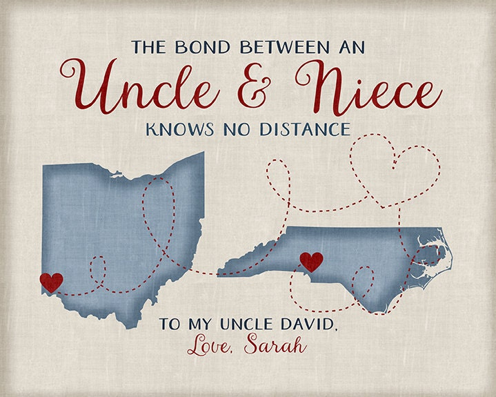 Gift for Uncle from Niece or Nephew, Long Distance Family Maps ...
