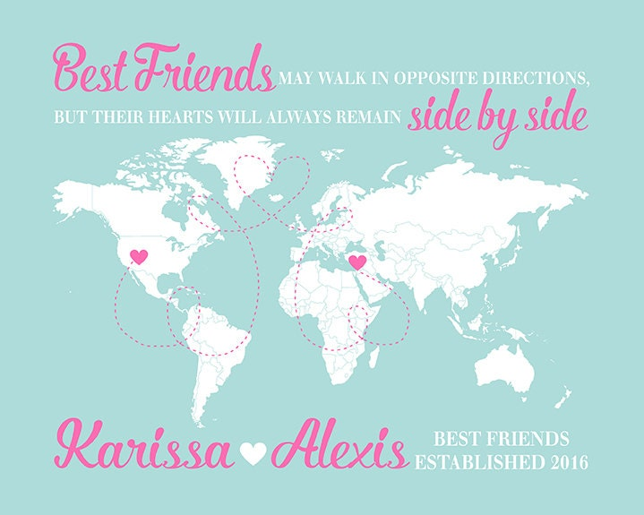 Quotes About Moving Away Stunning World Map Long Distance Friends Gift For Friend Moving Away