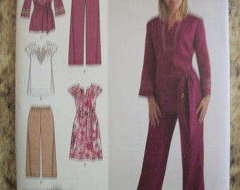 Simplicity 2371 Misses (Size AA 10,12,14,16,18) easy-to-sew dress or tunic and pants in 2 lengths