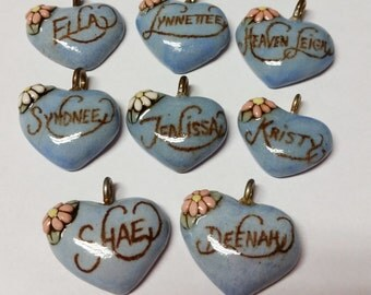 Pick One----Ella----Lynnette----Heaven Leigh----Syndnee---Kristy----Deenah---Jenissa---Shae----Vintage Ceramic Heart Name Pendant