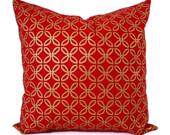Two Red Pillow Covers - Metallic Gold Pillow Sham - Decorative Pillow - Red Geometric Pillow - Holiday Pillow Cover - Christmas Pillows