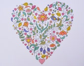 KIT Floral Heart Cross Stitch Sampler - Modern Heart Cross Stitch - Retro Feel - Contemporary Palette - Perfect Gift for Mother's Day