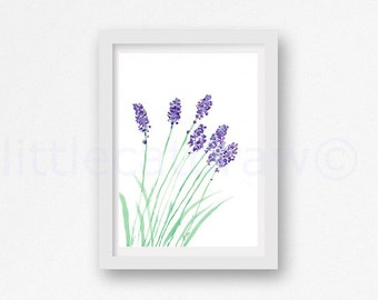 Lavender Print Watercolor Painting Herb Art Print Botanical Art Print Watercolour Lavender Wall Art Living Room Wall Decor Print