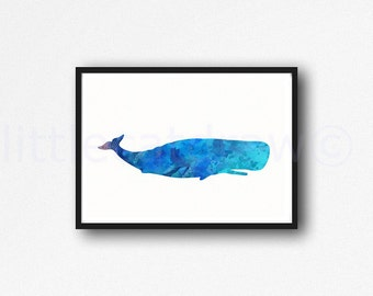 Blue Whale Watercolor Painting Print Nautical Beach Home Decor Whale Art Print Watercolour Whale Print Unframed