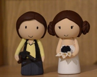 Star Wars Han Solo and Princess Leia inspired cake toppers - bride and ...