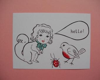 "Hello illustration print, 4"" x 6"" postcard print, art note-card"