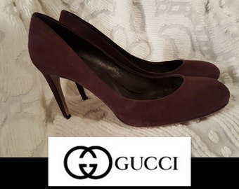 VS000015 Authentic GUCCI For Saks Fifth Avenue Chocolate Brown buttery Suede Heels Pumps Shoes -by God Oddities Decor on Etsy