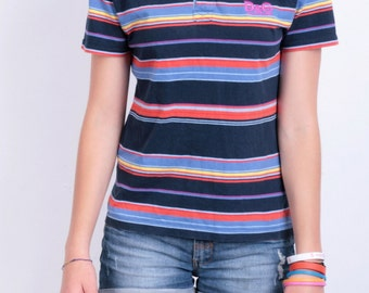 Dolce&Gabbana Womens S Youth L Polo Shirt Striped Navy Blue Cotton