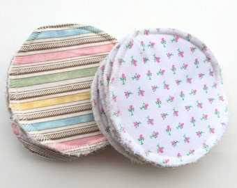 "10 reusable flat Nursing Pads.  Breastfeeding pads - absorbent nursing pads - baby feeding - made with zorb - 4"" diameter."