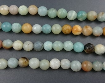natural amazonite beads, mix color amazonite stone beads round faceted semi precious beads 8mm