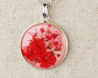 Real Flower Necklace - My Pink Prairie Garden