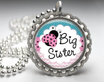 Big Sister Necklace, New Sister Gift, Bottle Cap Necklace, Gift for Big Sister, I'm the Big Sister, Alternative Gift, New Baby