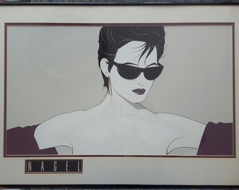 80s Patrick Nagel Artist Print in Original Frame and Double Matted